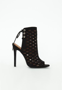 Lasercut Tie Back Heeled Shoes