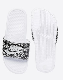 Nike Benassi Print White Slider Sandals