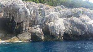wave wear on rocks capri